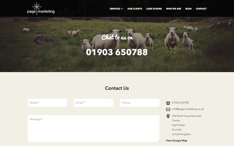 Screenshot of Contact Page page-marketing.co.uk - Contact Us | Page Marketing - captured Sept. 26, 2018