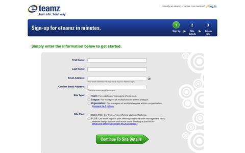 Screenshot of Landing Page eteamz.com - Eteamz - captured Oct. 27, 2014