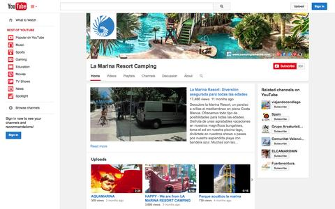 Screenshot of YouTube Page youtube.com - La Marina Resort Camping  - YouTube - captured Oct. 22, 2014
