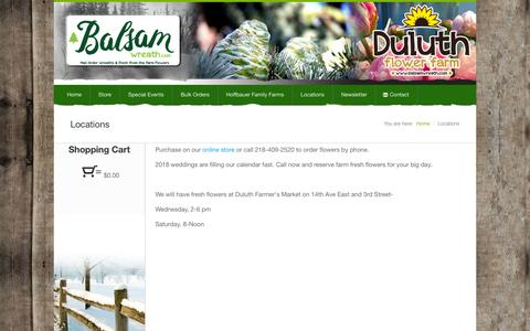 Screenshot of Locations Page balsamwreath.com - balsamwreath.com :: Our locations in Duluth MN for Balsam Wreaths and Christmas Trees! - captured Sept. 29, 2018