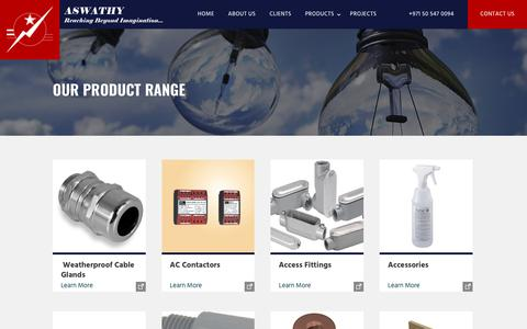Screenshot of Products Page aswathy.com - Our Product Range | Aswathy - captured Oct. 9, 2017