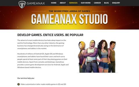 Screenshot of Services Page gameanax.com - Get Quality Game Development for your iOS, Android, Windows & BlackBerry Devices at GameAnax - captured Sept. 25, 2014