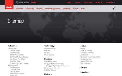Screenshot of Site Map Page itron.com - Sitemap - captured Oct. 15, 2017