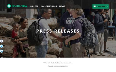 Screenshot of Press Page shelterboxusa.org - Press Release Archive for ShelterBox USA - captured July 27, 2018