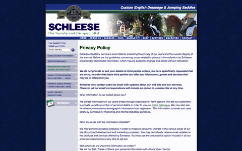 Screenshot of Privacy Page schleese.com - Privacy Policy - SCHLEESE - captured Oct. 4, 2014