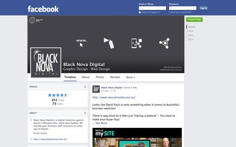 Screenshot of Facebook Page facebook.com - Black Nova Digital - Pennant Hills, NSW - Graphic Design, Web Design | Facebook - captured Oct. 23, 2014