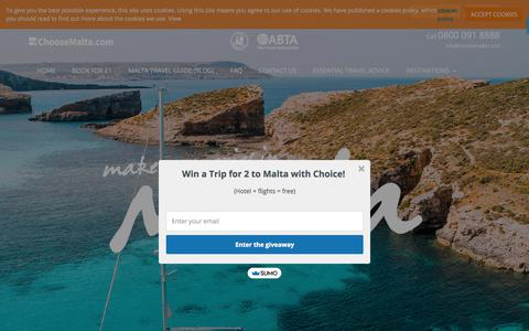 Screenshot of About Page choosemalta.com - About Choice Holidays | Travel Specialists Malta - captured July 5, 2018