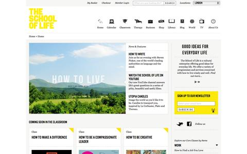 Screenshot of Home Page Login Page theschooloflife.com - The School of Life - Good Ideas for Everyday Life - captured Sept. 19, 2014