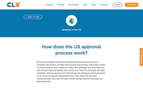 Screenshot of FAQ Page clxcommunications.com - How does the US Approval Process Work? - CLX Communications - captured Dec. 12, 2017