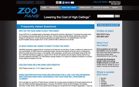 Screenshot of FAQ Page zoofans.com - Destratification Fans FAQ | ZOO Fans - captured Oct. 27, 2014