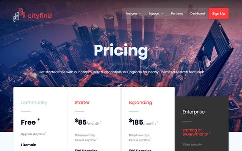 Screenshot of Pricing Page cityfind.site - Pricing - CityFind | Site Search for Everyone - captured July 10, 2018
