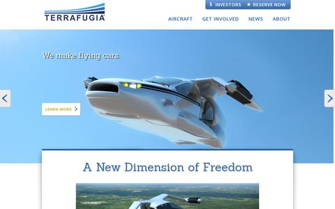 Screenshot of Home Page terrafugia.com - Welcome | Terrafugia - captured July 11, 2014
