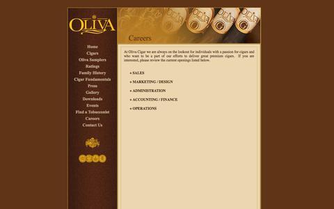 Screenshot of Jobs Page olivacigar.com - Oliva Cigar - captured Oct. 26, 2014