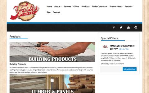 Screenshot of Products Page fosterlumber.com - | Foster Lumber- Vallejo, CA | Fairfield, CA - captured Nov. 25, 2016