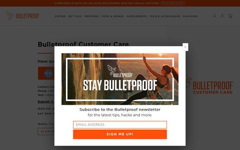 Screenshot of Contact Page bulletproof.com - Bulletproof Customer Care - captured July 19, 2019