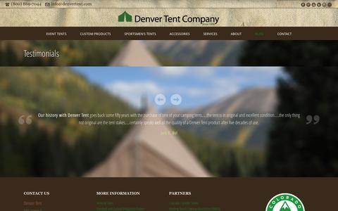 Screenshot of Testimonials Page denvertent.com - Testimonials | Denver Tent Company - Event, Sportsmen, & Custom Tents - captured Oct. 5, 2014