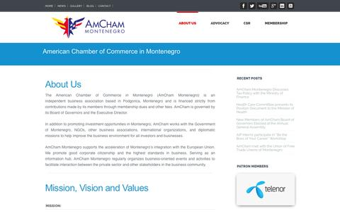 Screenshot of About Page amcham.me - American Chamber of Commerce in Montenegro   American Chamber in Montenegro - captured Oct. 4, 2014