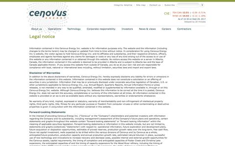 Screenshot of Terms Page cenovus.com - Read Cenovus's legal disclaimer regarding content on the web site - captured Oct. 3, 2017