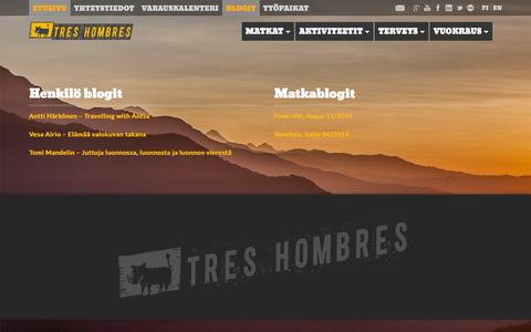 Screenshot of Blog treshombres.fi - Blog | Tres Hombres Adventure - captured Feb. 25, 2016