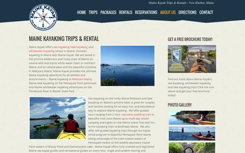 Screenshot of About Page mainekayak.com - Maine Kayaking Trips - Kayak Rentals | Maine Kayak - captured June 22, 2016