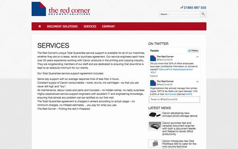 Screenshot of Services Page theredcorner.co.uk - Services | The Red Corner - captured Oct. 9, 2014