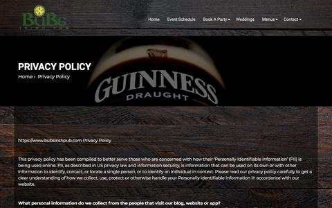 Screenshot of Privacy Page bubsirishpub.com - Privacy Policy - Bub's Irish Bub - captured Aug. 4, 2018