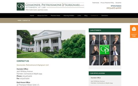 Screenshot of Contact Page gpsp.com - Contact the Hamden CT Attorneys at Gesmonde, Pietrosimone & Sgrignari - captured Sept. 25, 2018