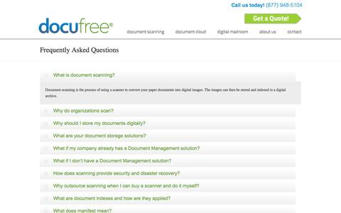 Screenshot of FAQ Page docufree.com - Docufree Document Scanning, Document Management and Workflow FAQ's Docufree Document Scanning Services & Cloud Document Management Systems - captured Sept. 30, 2014