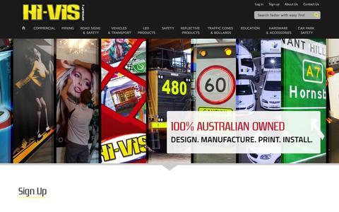 Screenshot of Signup Page hivis.com - Register | Hi-Vis Group - captured Oct. 2, 2014