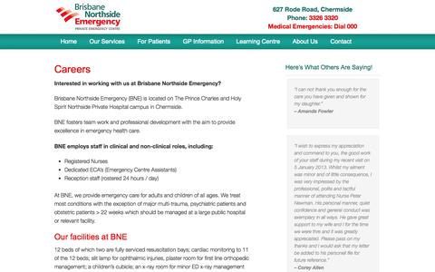 Screenshot of Jobs Page emergencybne.com.au - Careers at Brisbane Northside Emergency - captured Oct. 5, 2014