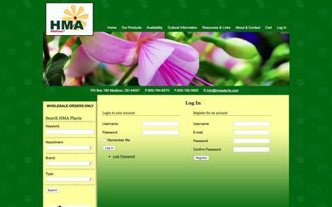 Screenshot of Login Page hmaplants.com - Log In | Horticultural Marketing Associates - captured July 14, 2018