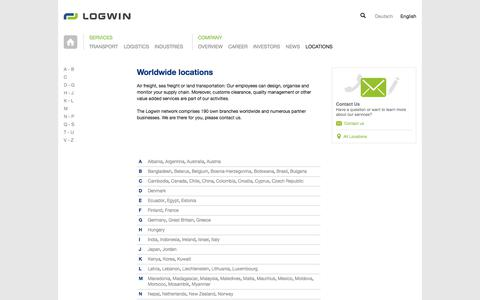 Screenshot of Locations Page logwin-logistics.com - Logwin Logistics | Locations | International Logistics & Transports - captured Sept. 25, 2018