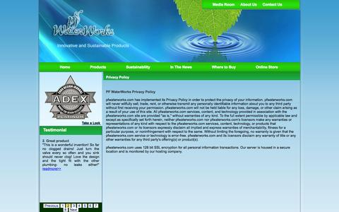 Screenshot of Privacy Page pfwaterworks.net - Welcome to permaflow company - captured Sept. 17, 2014