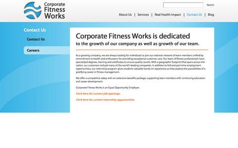 Screenshot of Jobs Page corporatefitnessworks.com - Careers - Corporate Fitness Works | Fitness Center Management & Consulting | Health & Wellness Programs - captured Sept. 30, 2014