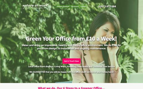Screenshot of Home Page nature-at-work.co.uk - Office plants, great pot & tropical plants for your offices — Nature at Work - captured Dec. 1, 2016