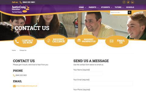 Screenshot of Contact Page justincraig.ac.uk - Contact Justin Craig | GCSE & A Level Revision Courses - captured Oct. 16, 2017