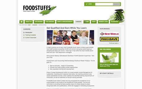 Screenshot of Jobs Page foodstuffs-si.co.nz - Careers At Foodstuffs South Island Introduction - captured Oct. 30, 2014