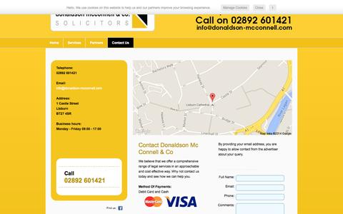 Screenshot of Contact Page donaldson-mcconnell.com - Contact Us - Lisburn | Donaldson Mc Connell & Co - captured Oct. 5, 2014