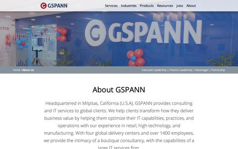Screenshot of About Page gspann.com - GSPANN | About US - Company Information - captured April 30, 2019