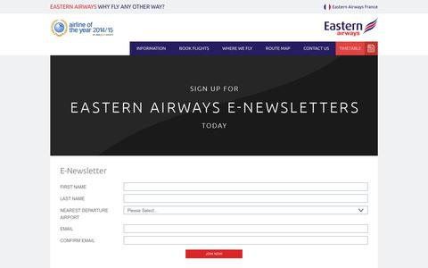 Screenshot of Signup Page easternairways.com - E-newsletter l Eastern Airways  | Eastern Airways - captured Jan. 25, 2016