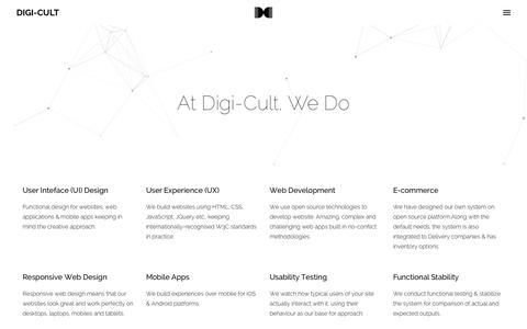 Screenshot of About Page digi-cult.in - About - Digi-Cult - Digital UI UX Design Agency (India) | UI Design | User Experience | Goosebumps Pickles | UX | Mobile App | iOS Apps | Android Apps | eCommerce Website - captured Jan. 7, 2016