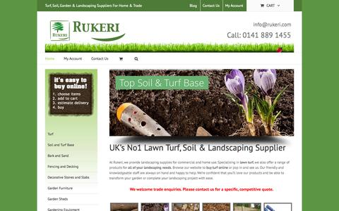 Screenshot of Home Page rukeri.com - Lawn Turf, Soil Suppliers Glasgow, Scotland | Garden Turf and Top Soil | Rukeri - captured Sept. 30, 2014