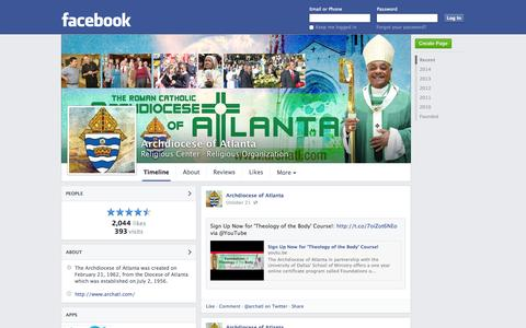Screenshot of Facebook Page facebook.com - Archdiocese of Atlanta - Smyrna, GA - Religious Center, Religious Organization   Facebook - captured Oct. 23, 2014