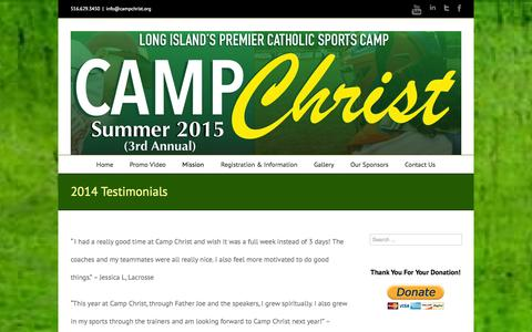 Screenshot of Testimonials Page campchrist.org - Camp Christ   –  2014 Testimonials - captured Oct. 3, 2014