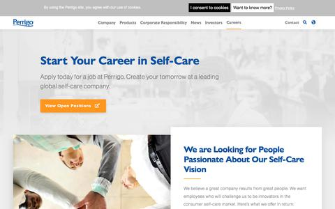 Screenshot of Jobs Page perrigo.com - Start Your Career in Self-Care | corporate - captured Jan. 7, 2020