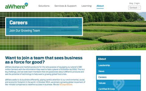 Screenshot of Jobs Page awhere.com - Ag Software Company, Ag Software Solutions | aWhere - captured Feb. 5, 2016