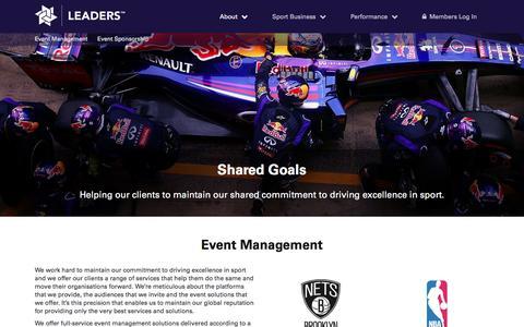 Screenshot of Services Page leadersinsport.com - Services - Leaders - captured Nov. 5, 2016