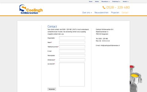 Screenshot of Contact Page coelinghschilderwerken.nl - Contact | Coelingh Schilderwerken B.V. - captured Oct. 3, 2014
