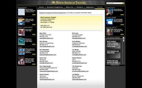 Screenshot of Contact Page natheatrix.com - Contact | North American Theatrix - captured Oct. 26, 2014