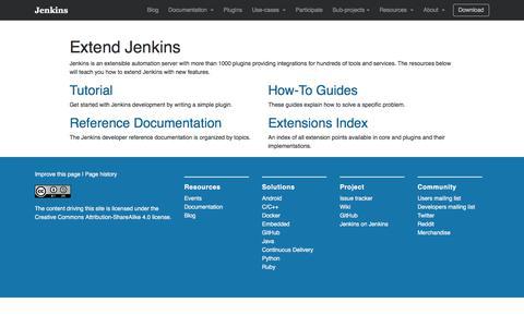 Screenshot of Developers Page jenkins.io - Extend Jenkins - captured July 17, 2017